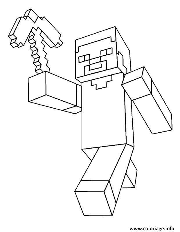 Coloriage Minecraft Steve Dessin