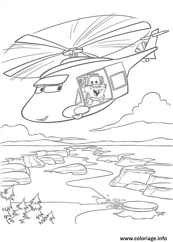 Coloriage Flash Mcqueen Tour Helicoptere dessin