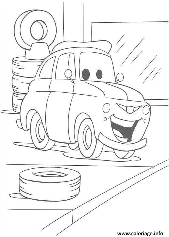 coloriage flash mcqueen un petit sourir dessin