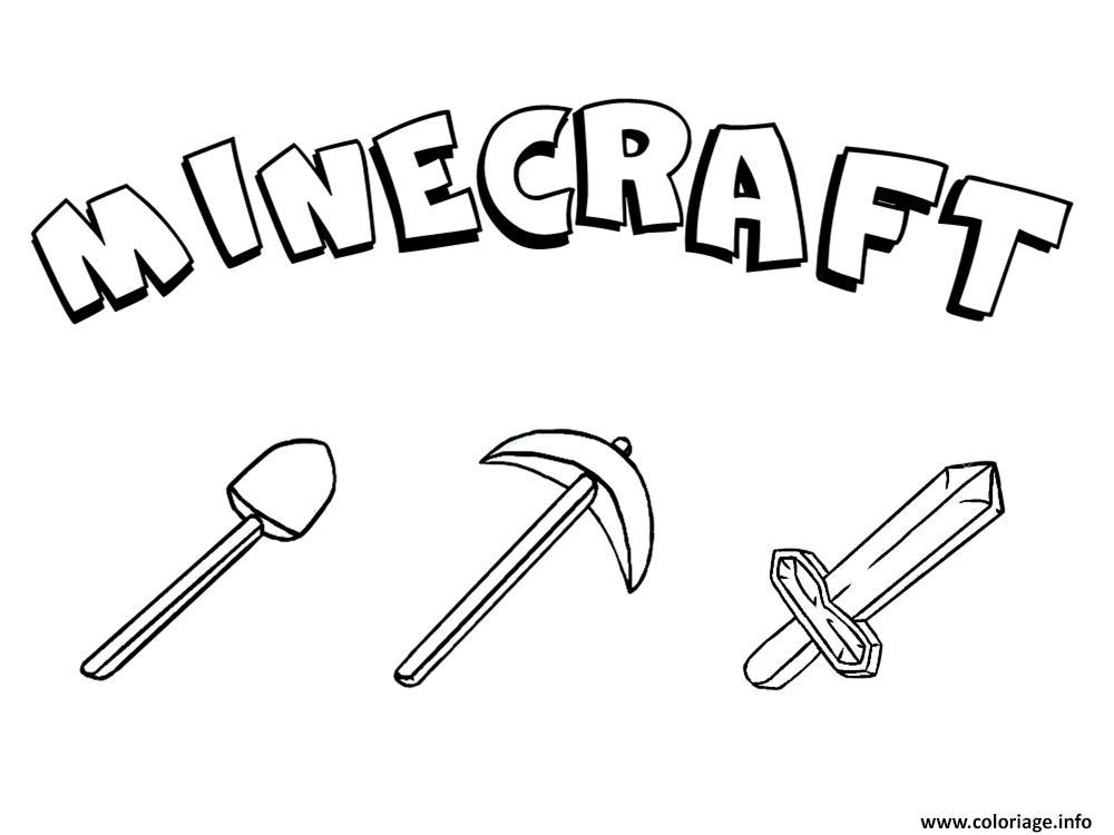 Dessin des outils minecraft Coloriage Gratuit à Imprimer