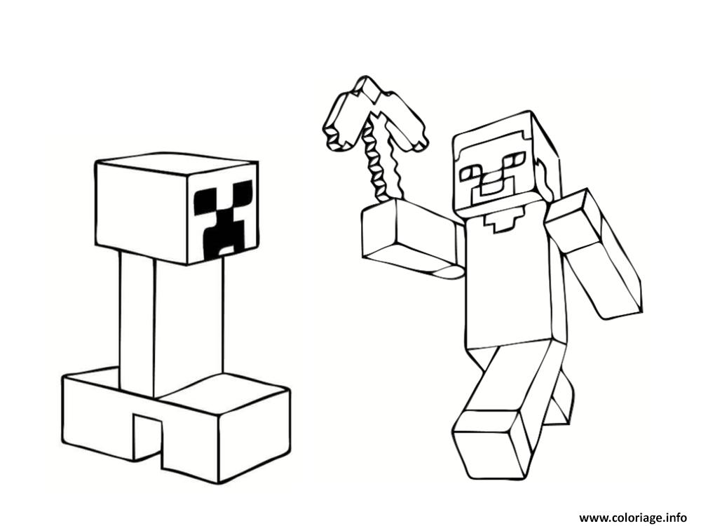 Coloriage Steve Et Creeper Minecraft Dessin