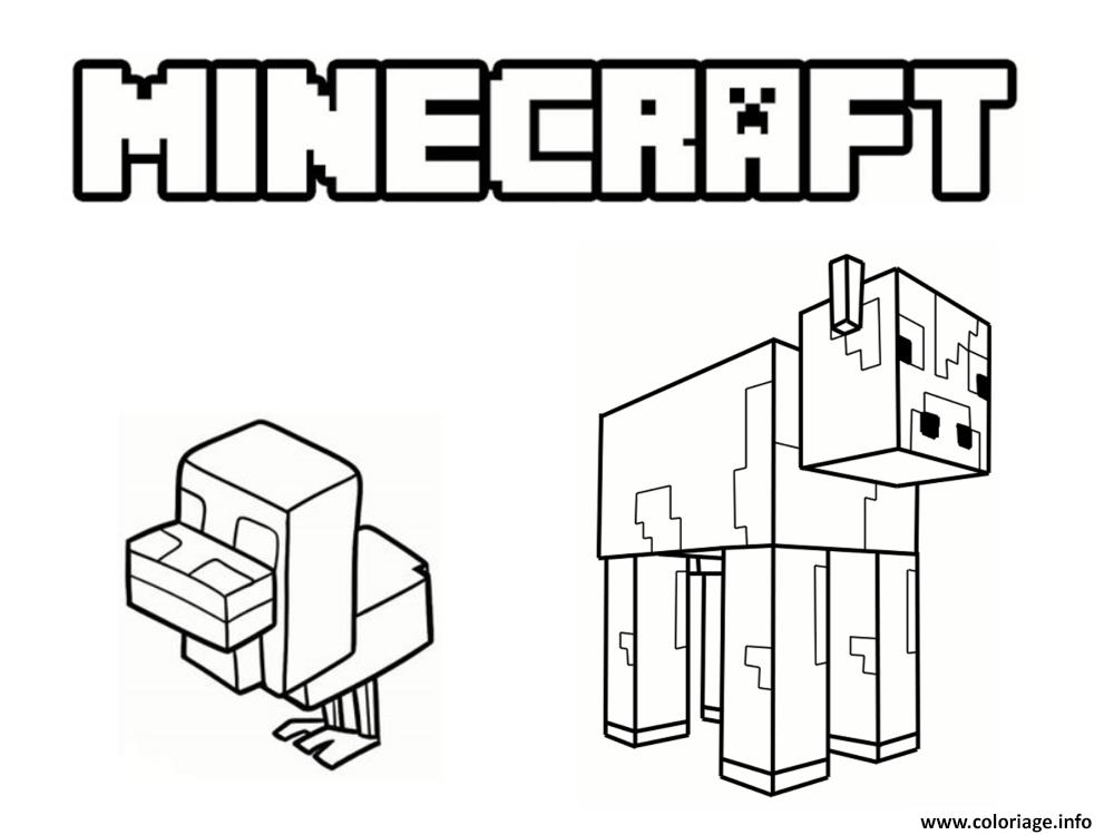 Coloriage Animaux Minecraft Dessin Minecraft A Imprimer