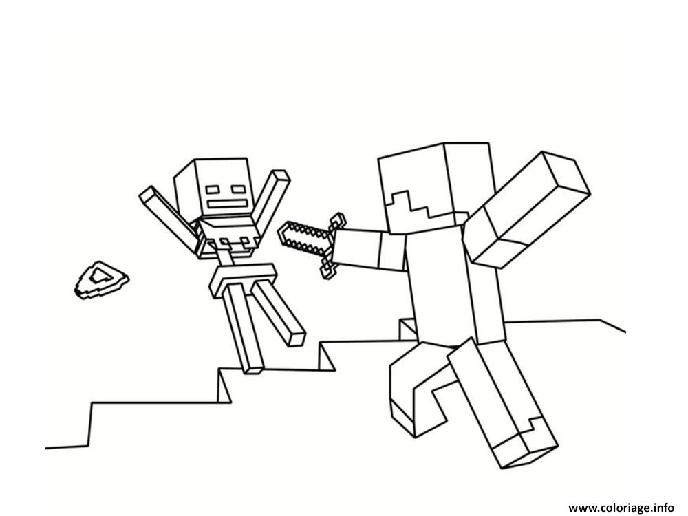 Dessin les mains en l air minecraft Coloriage Gratuit à Imprimer