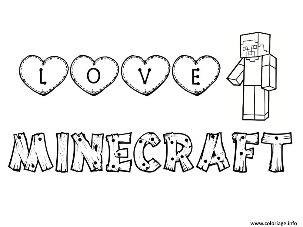 Coloriage Love Minecraft Dessin