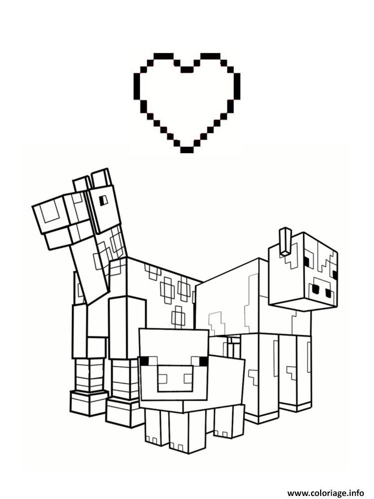 Coloriage love minecraft animaux - JeColorie.com