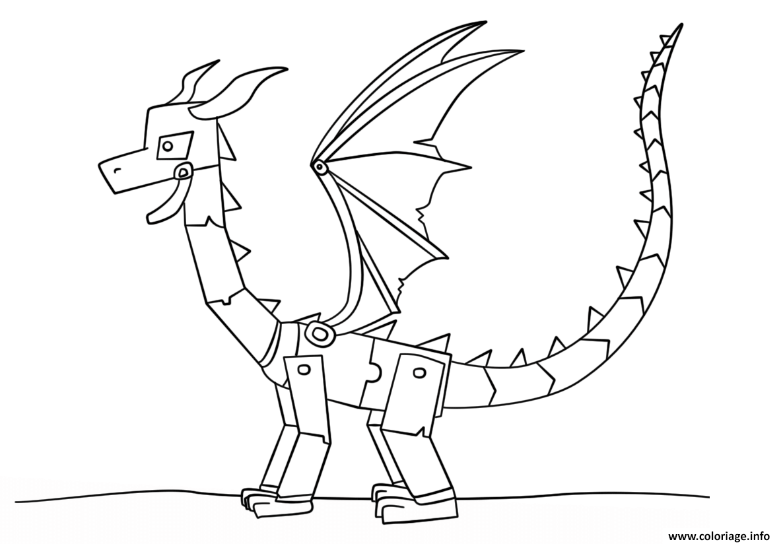 Dessin minecraft ender dragon Coloriage Gratuit à Imprimer