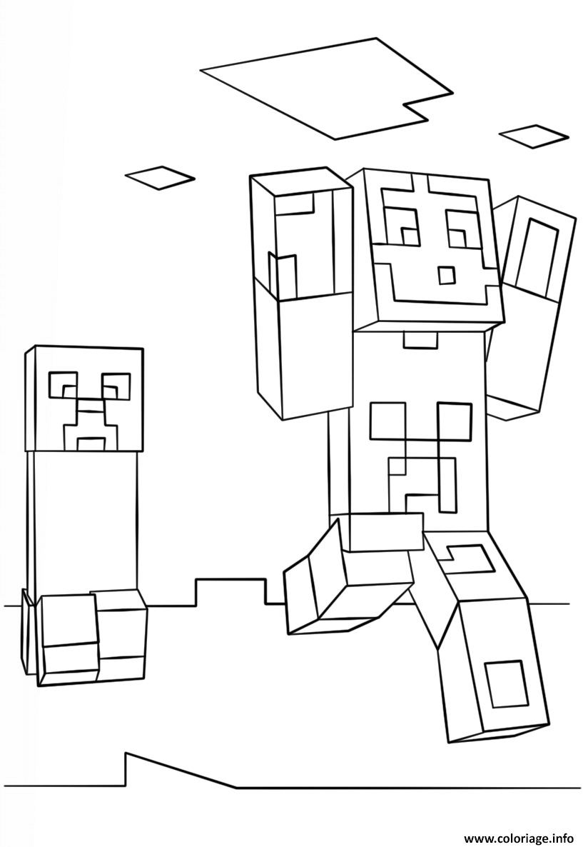 Coloriage Minecraft Steve And Creeper Dessin à Imprimer