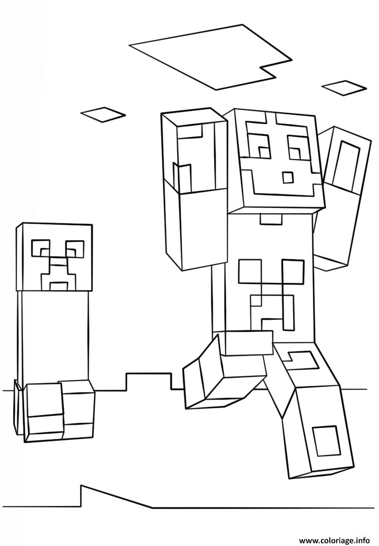 Dessin minecraft steve and creeper Coloriage Gratuit à Imprimer