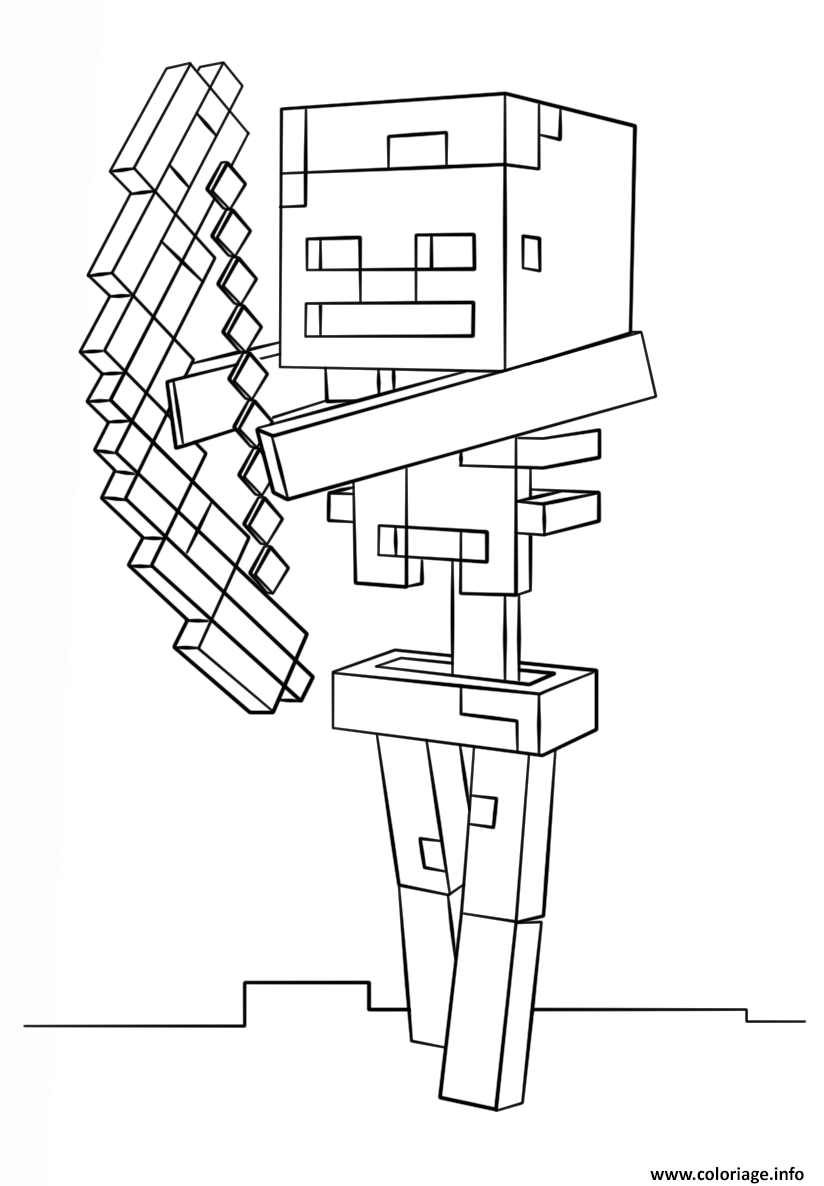 Coloriage Minecraft Skeleton With Bow Dessin à Imprimer