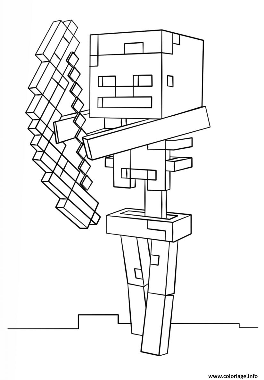 Dessin minecraft skeleton with bow Coloriage Gratuit à Imprimer