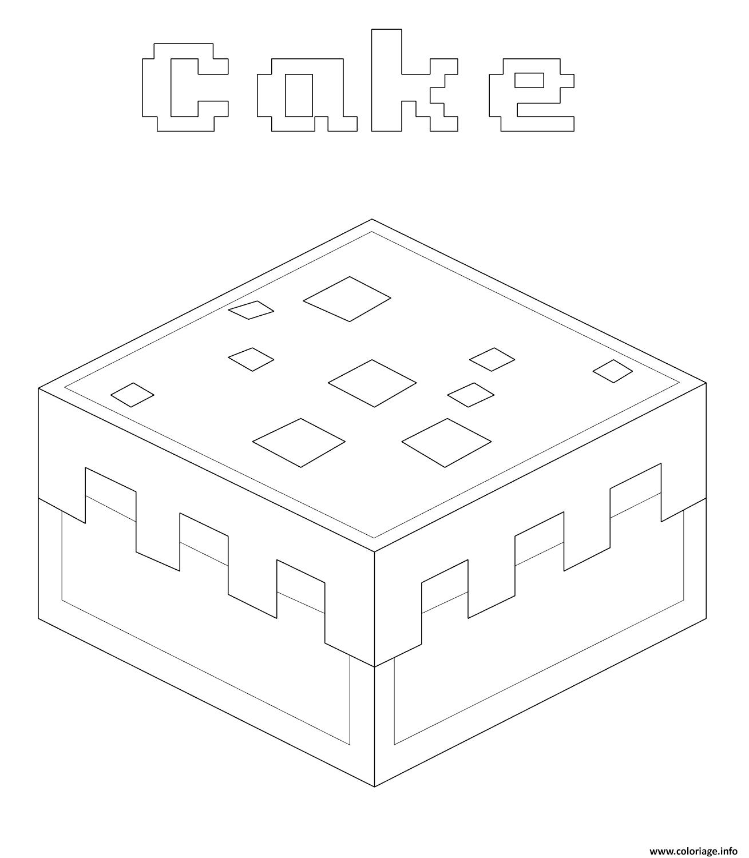 Coloriage Gateau Cake.Coloriage Minecraft Gateau Cake Dessin