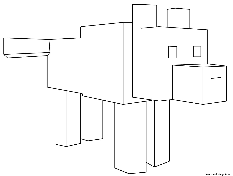 Dessin minecraft loup Coloriage Gratuit à Imprimer