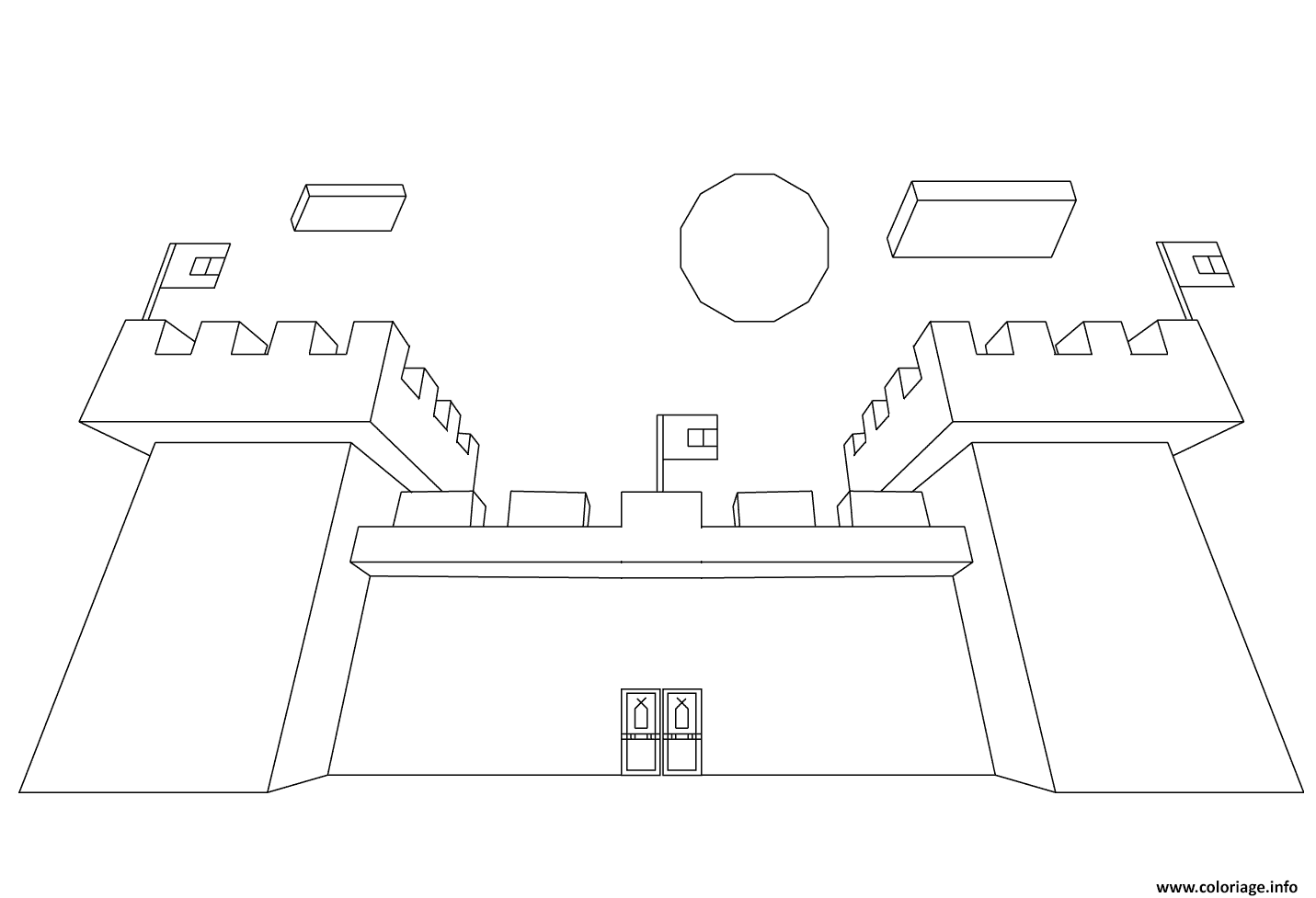 Coloriage Minecraft Chateau dessin