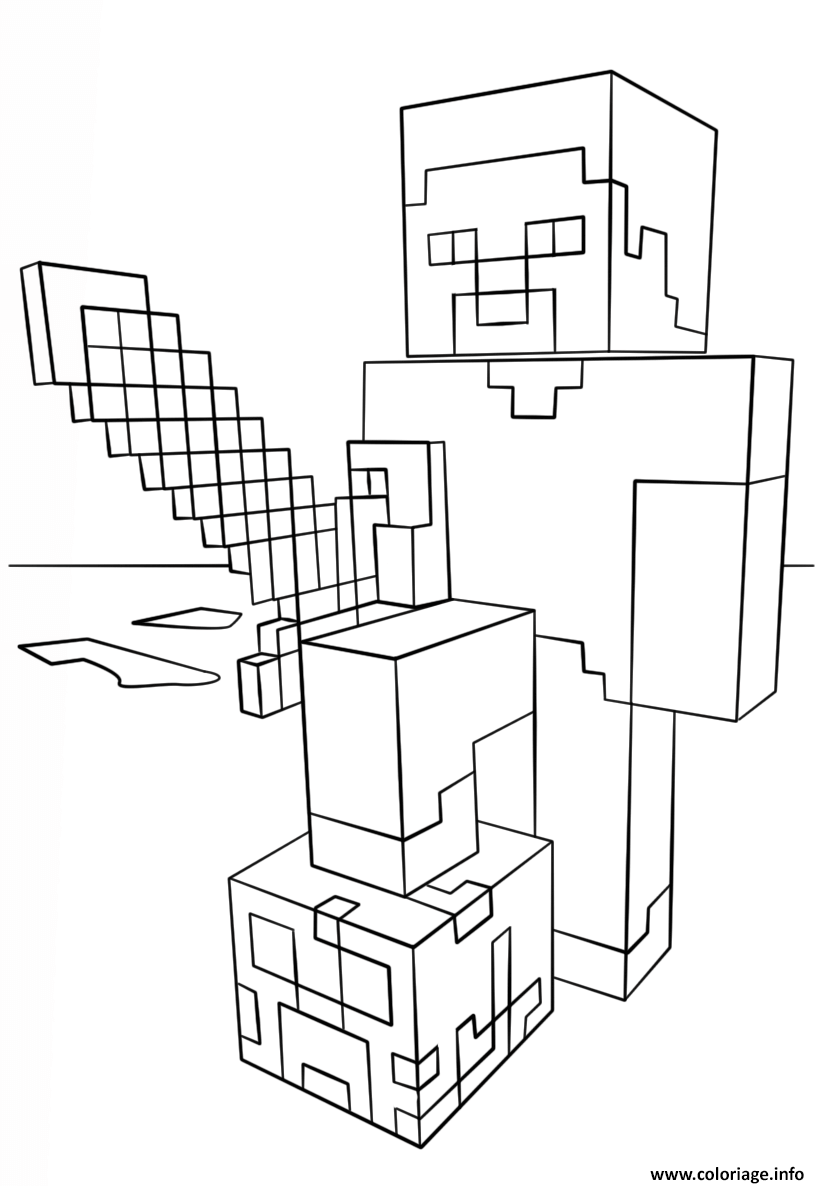 Coloriage Minecraft Steve With Diamond Sword Dessin à Imprimer