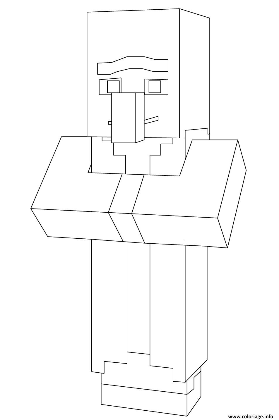Coloriage Minecraft Villager Dessin Minecraft à imprimer