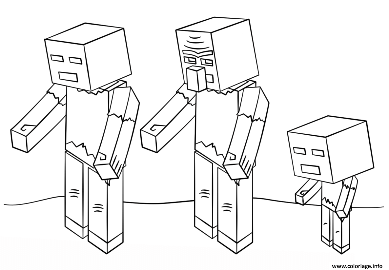 Coloriage Minecraft Zombies Dessin