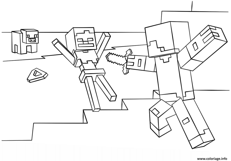 Coloriage Minecraft Steve Vs Skeleton Dessin