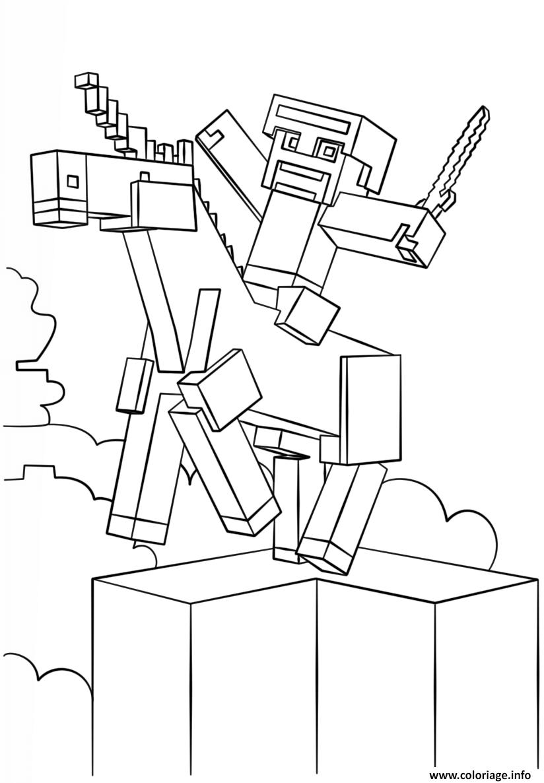 Dessin minecraft unicorn Coloriage Gratuit à Imprimer