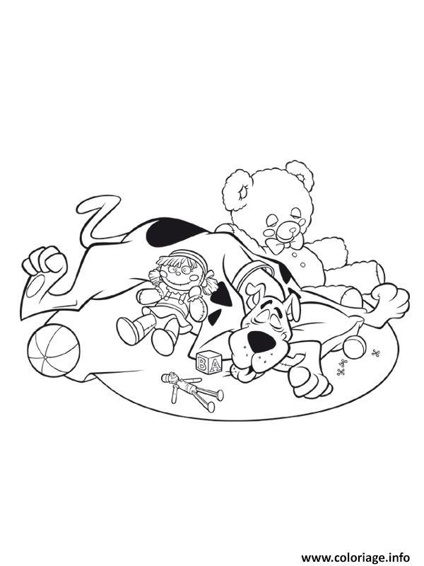 Coloriage scooby doo dort dans une chambre a jouets ...