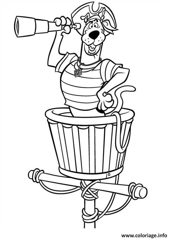 Coloriage scooby doo le pirate cherche les ennemis - Coloriage de scooby doo ...