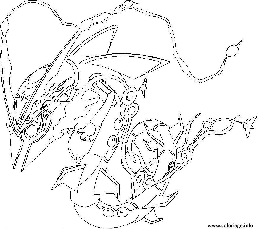 Dessin pokemon mega rayquaza 1 Coloriage Gratuit à Imprimer