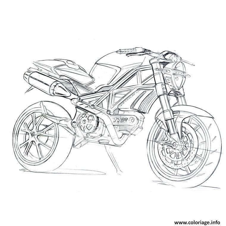 Coloriage Moto De Course 27 dessin