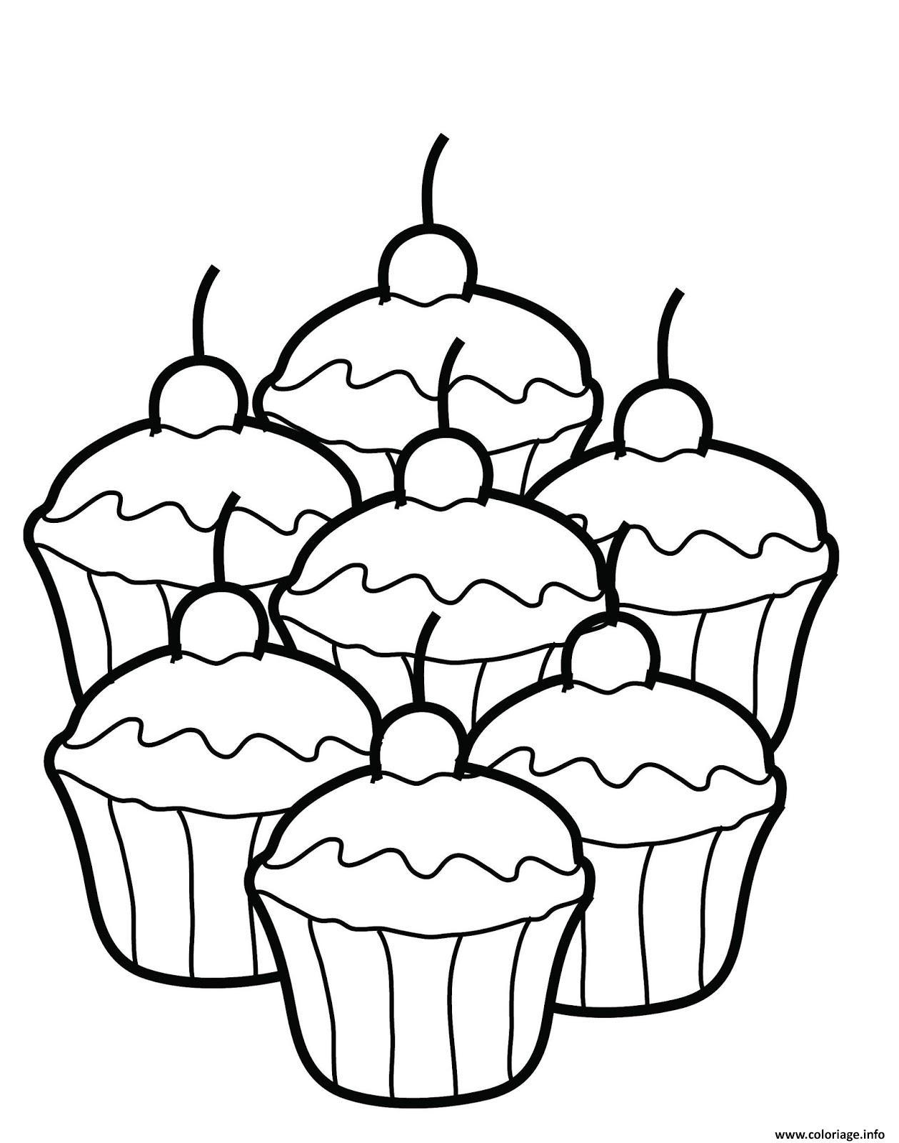 Coloriage quatres cupcakes dessin - Dessin cupcake ...