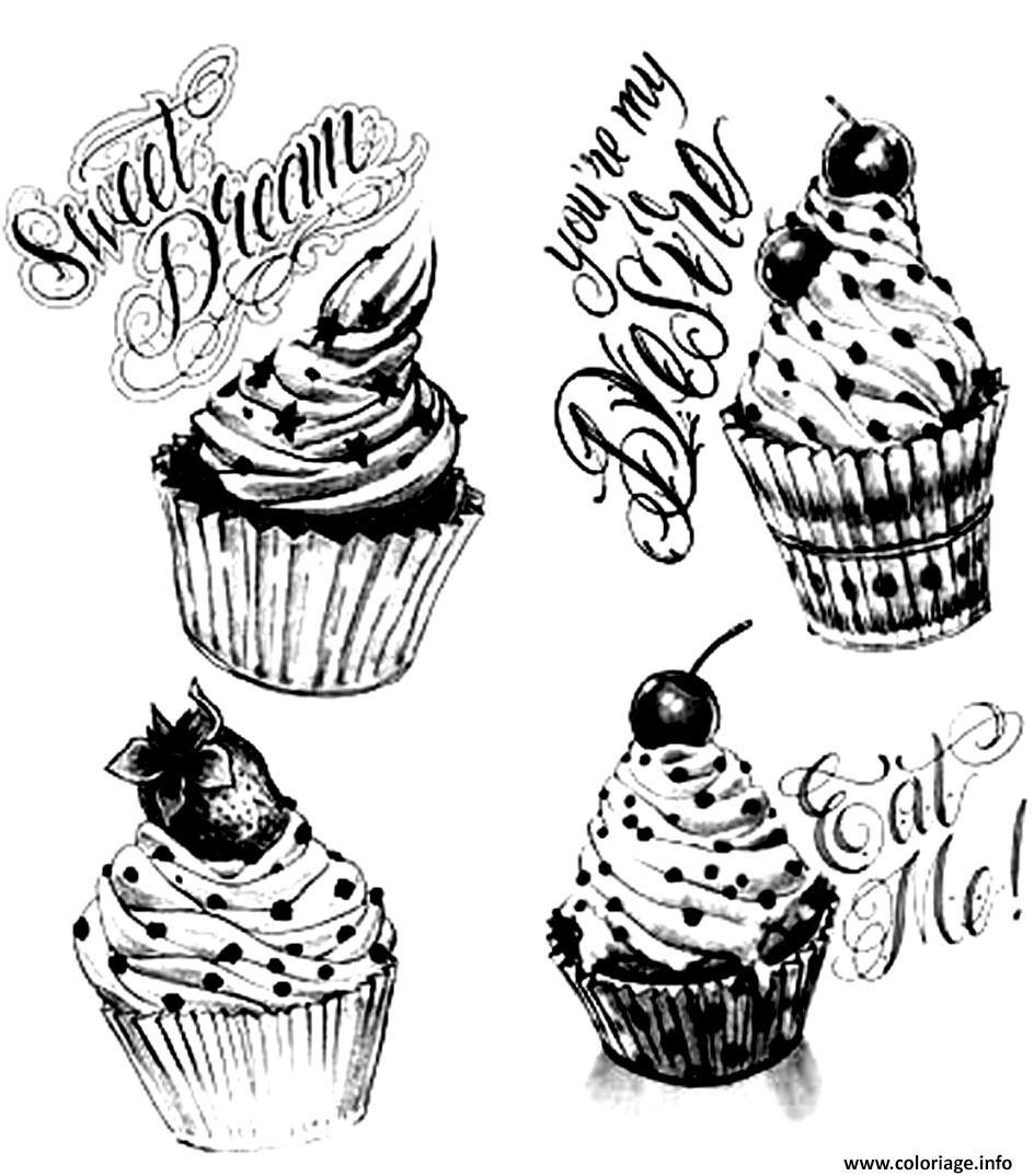 Coloriage adulte cupcakes vintage dessin - Dessin cupcake ...