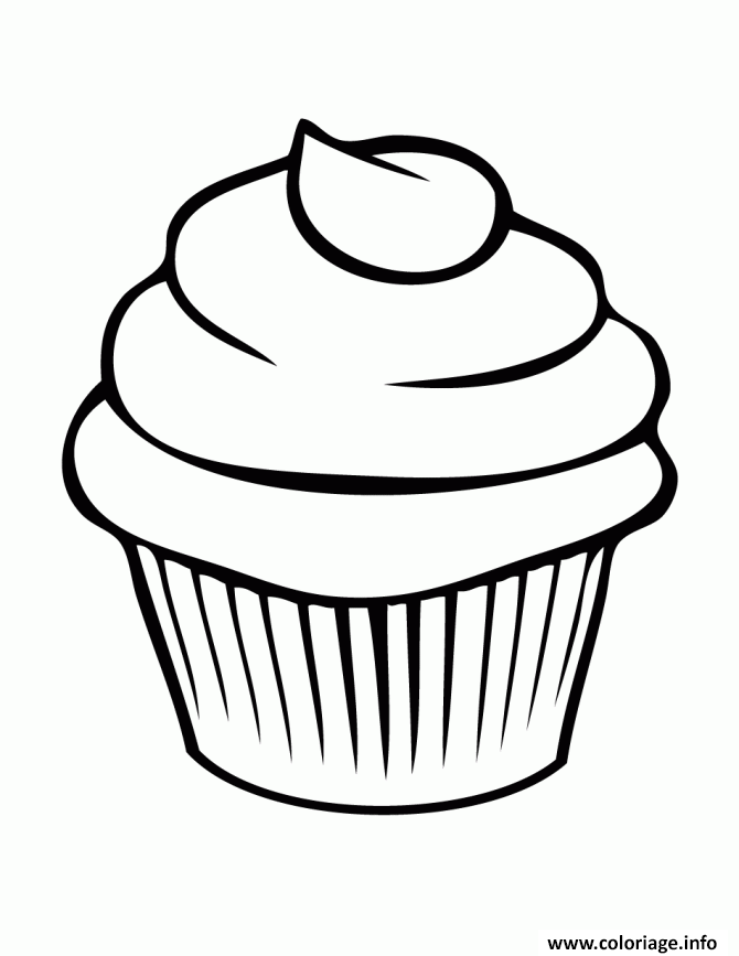 Coloriage cupcake simple facile dessin - Cupcakes dessin ...