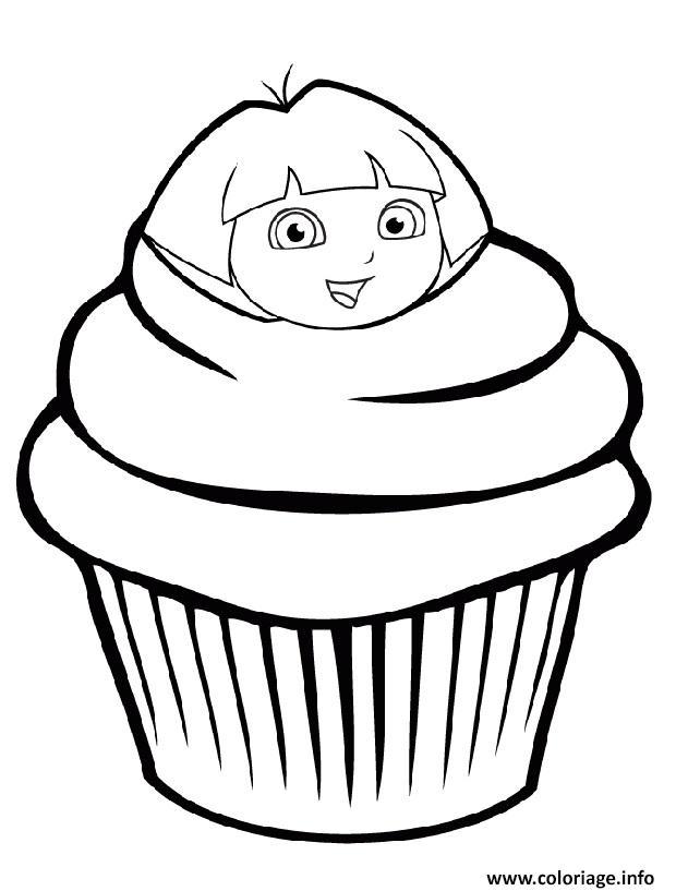Dessin dora exploratrice cupcake Coloriage Gratuit à Imprimer