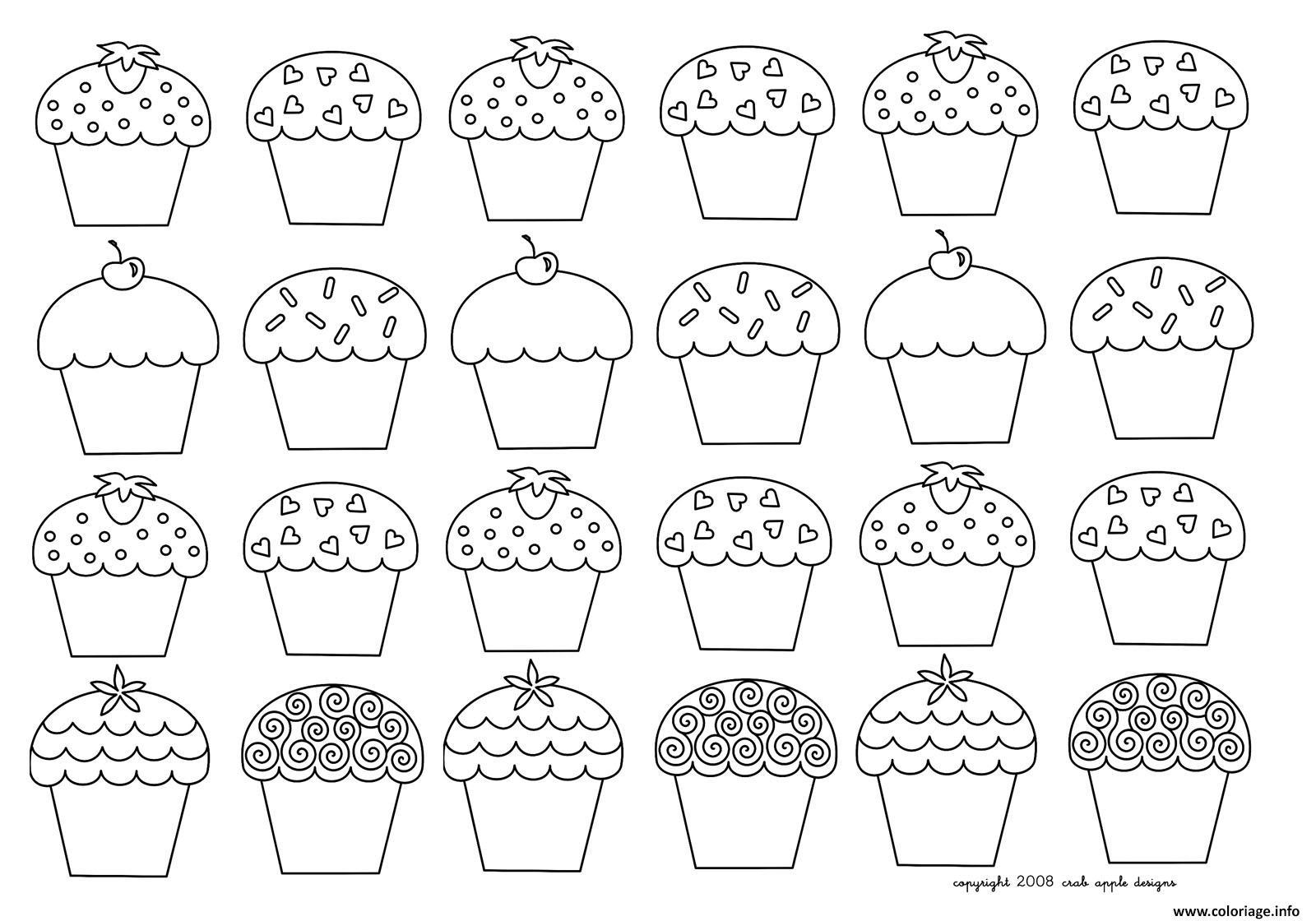 Coloriage Mosaique Cupcakes Enfantins Dessin