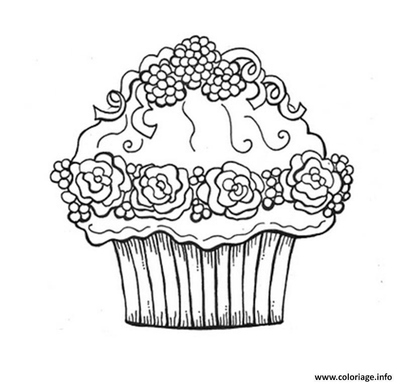 Dessin cupcake fleurs Coloriage Gratuit à Imprimer