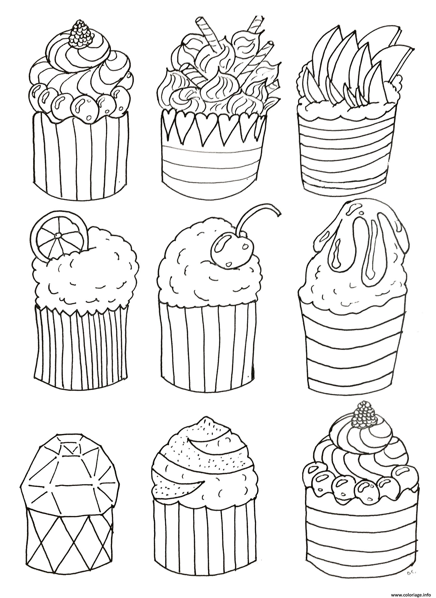 Coloriage simple cup cakes par olivier - Dessin cupcake ...