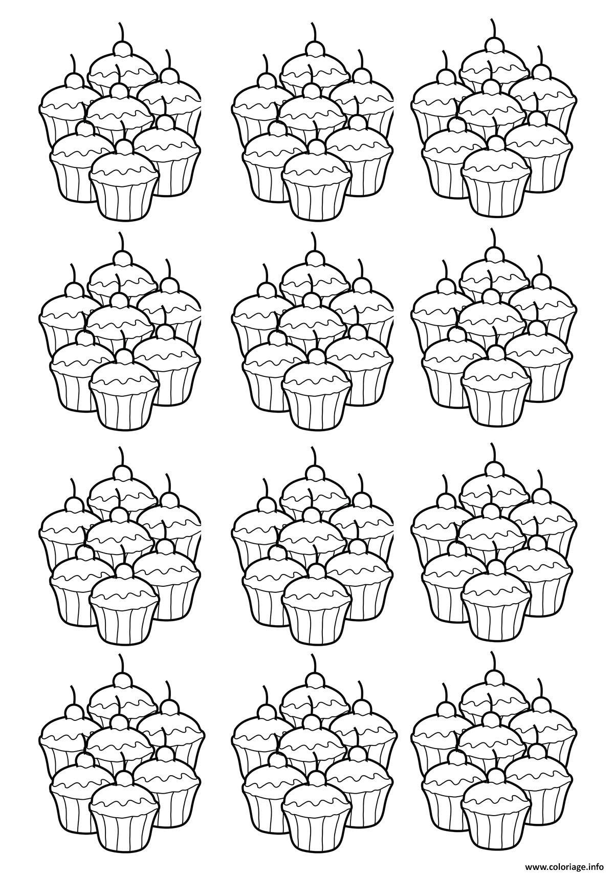 Coloriage Adulte Cupcakes Mosaique Dessin