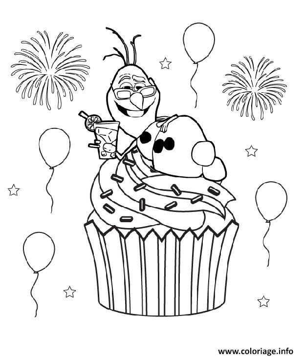 coloriage olaf cupcake reine des neiges dessin imprimer