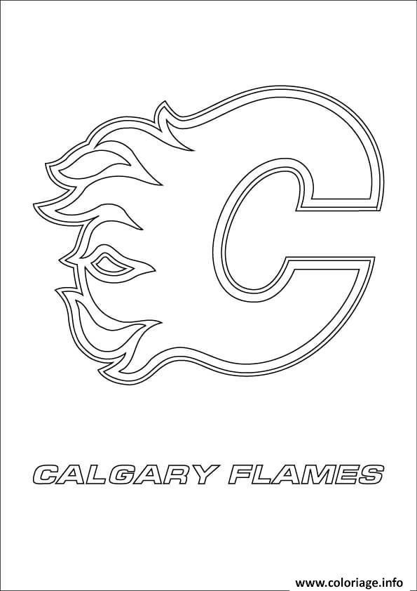Coloriage Calgary Flames Logo Lnh Nhl Hockey Sport Dessin