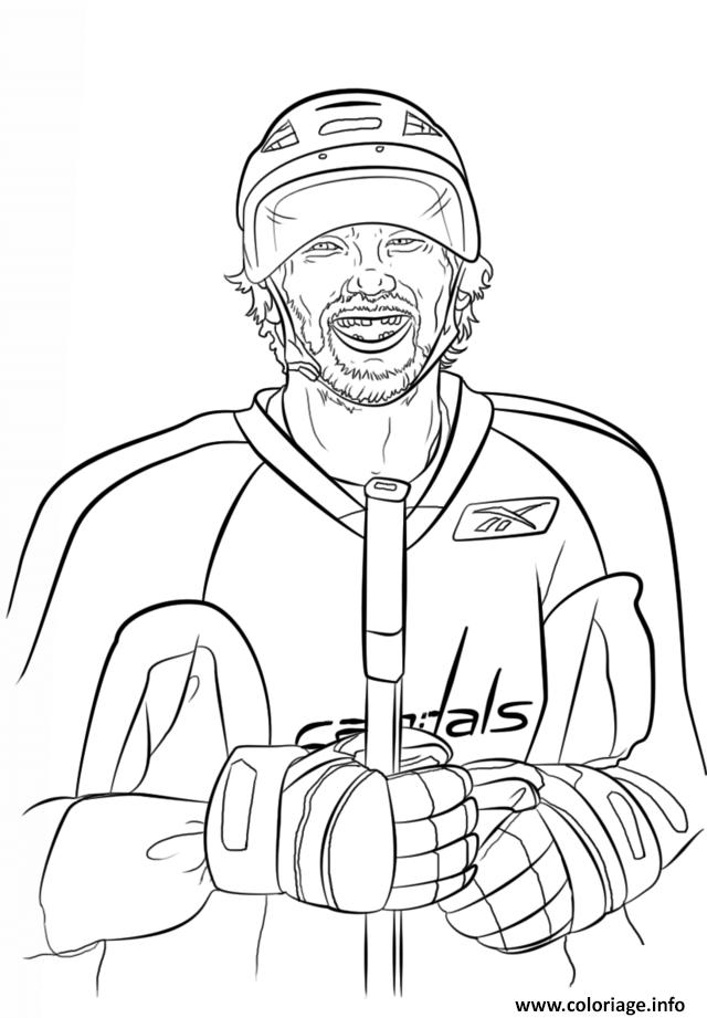 coloriage alex ovechkin lnh nhl hockey sport dessin lnh à