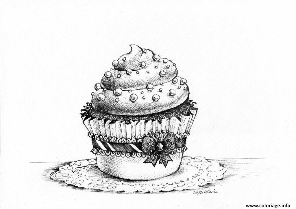 adulte cupcakes sophistique moderne coloriage