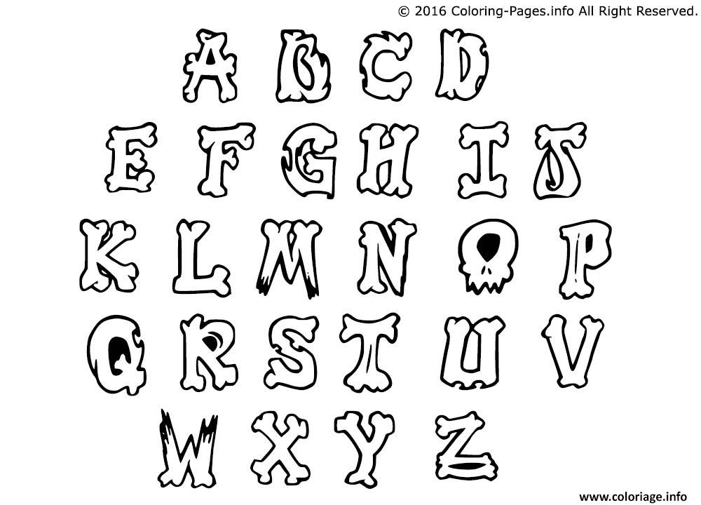 Coloriage graffiti alphabet simple letters - Alphabet dessin ...