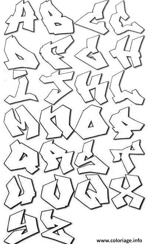Coloriage graffiti alphabet bubble letters - Alphabet dessin ...