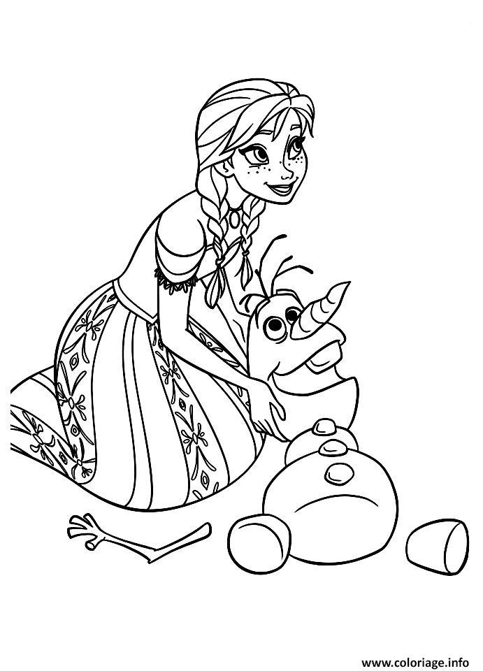 Coloriage Olaf Avec Anna Reine Des Neiges Dessin