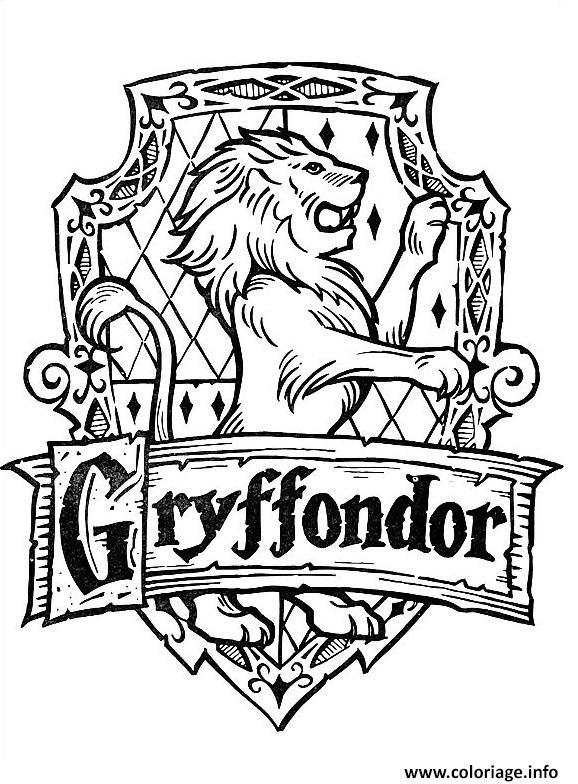Coloriage Blason De Gryffondor Harry Potter Jecolorie Com