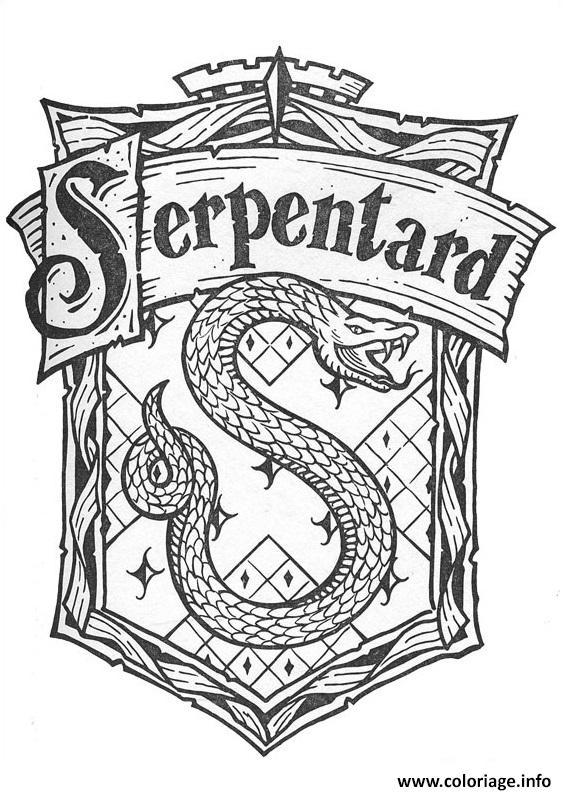 Coloriage Blason De Serpentard Harry Potter Dessin