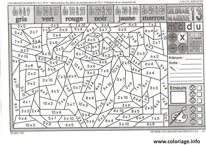 Coloriage magique ce2 multiplication dessin - Coloriage magique table de multiplication cm2 ...