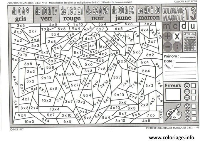 Coloriage magique ce2 multiplication dessin - Coloriage magique ce2 addition ...