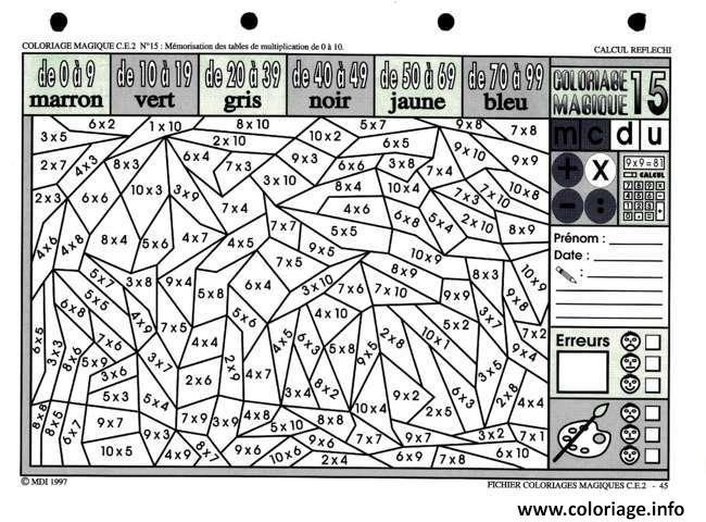 Coloriage dessin magique ce2 cp multiplication dessin - Table de multiplication en ligne gratuit ...