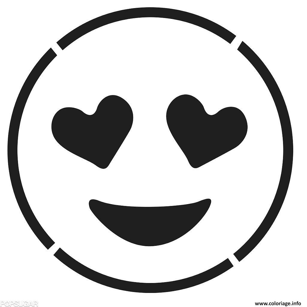 Coloriage Laughing Face Emoji Black And White Smiling Face With Hear Dessin   Imprimer
