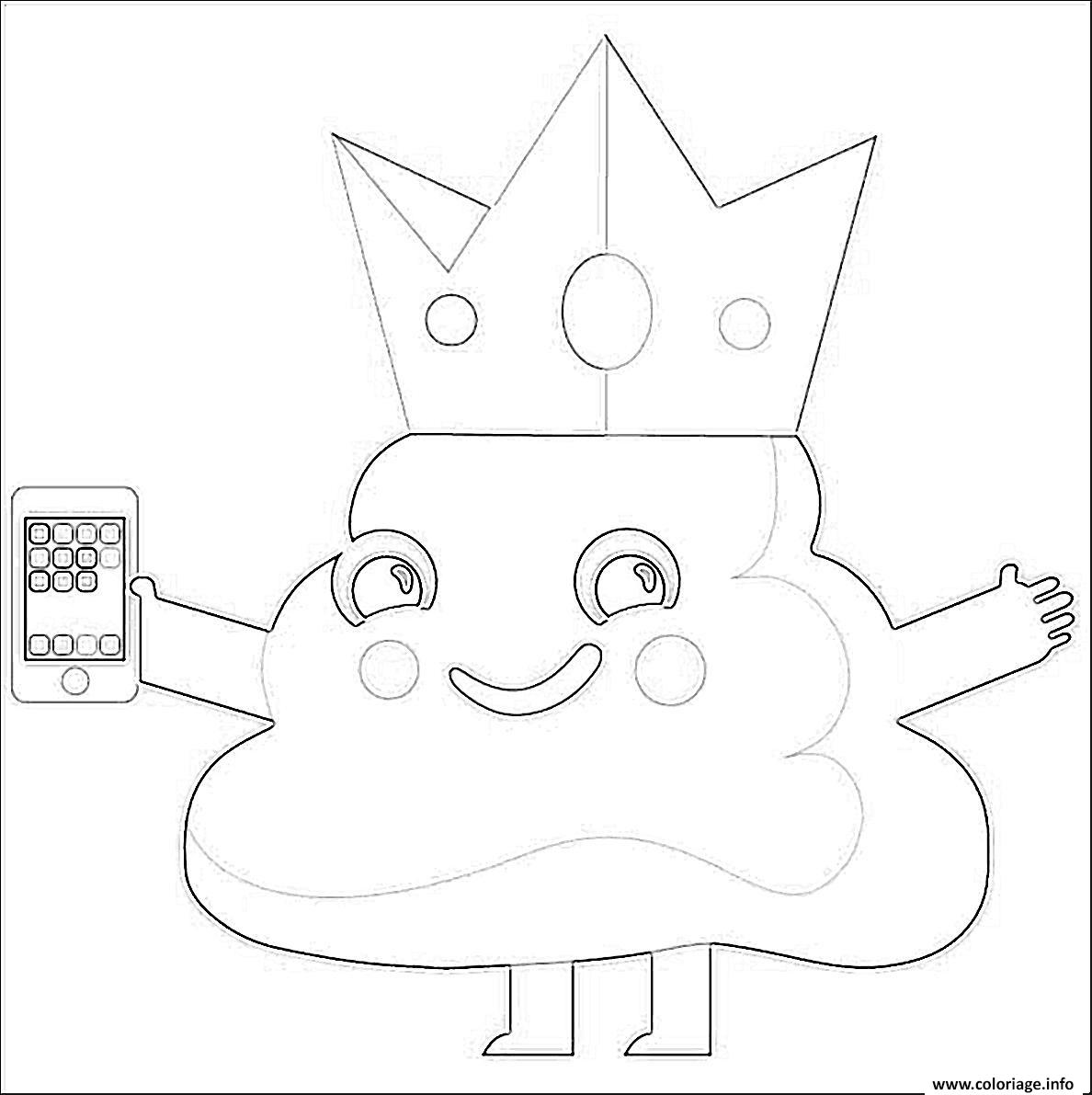 Coloriage Caca Emoji King Phone Dessin