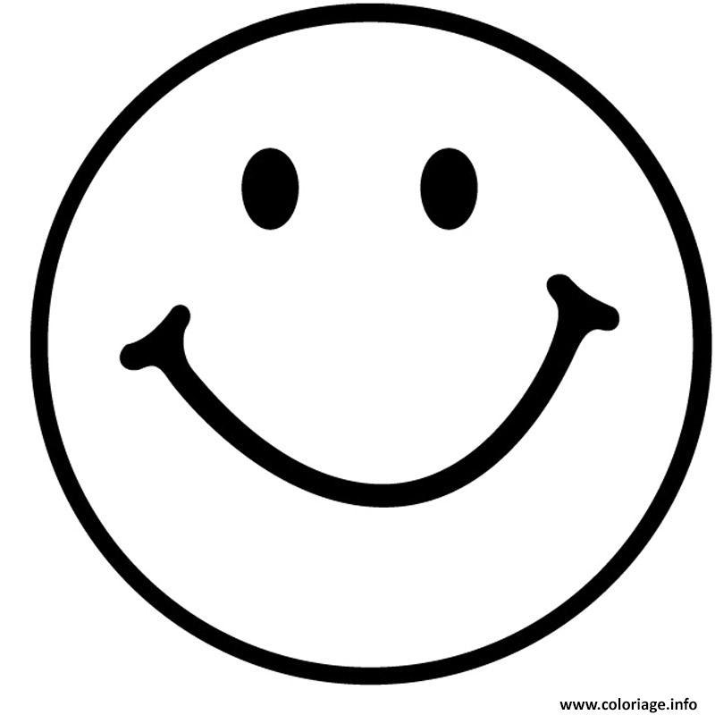 Coloriage sourire emoji emoticon dessin - Smiley en noir et blanc ...