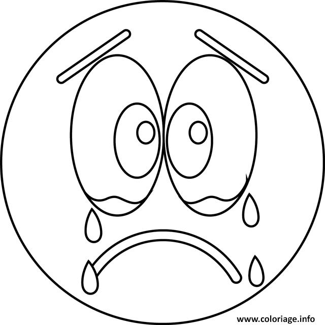 Coloriage triste cry emoji dessin - Dessin triste ...